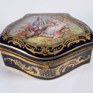 French Signed Sevres Porcelain Trinket Box in Blue and Gold