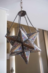 Enameled and Brass Islamic Style Hanging Star Lantern