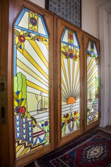 Large and Gorgeous Three-Panel Stained Glass Window