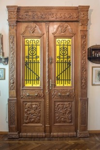 Fantastically Ornate Carved Hall Doors with Wrought Iron and Glass