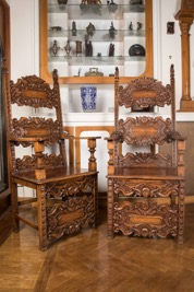 Pair of Well Carved French Oak Hall Chairs
