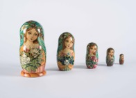 "Russian Wood and Hand Painted 5-piece Nesting ""Matryoshka"" Dolls"
