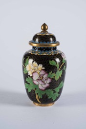 Vintage Chinese Cloisonné Vase with Lid and Floral/Avian Decoration