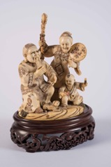 Carved Japanese Ivory Okimono/Netsuke Figure Group