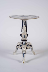 Miniature Porcelain Blue and White Painted Intricate Tripod Table