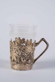Continental Silver Plated and Glass Coffee Cup