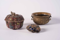 Set of Three Enamelled and Brass Asian Vessels