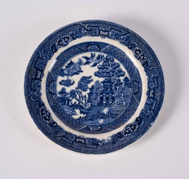 Blue and White Victorian Style Plate