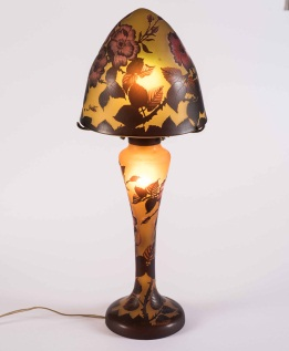 Galle Style Acid Etched Glass Table Lamp