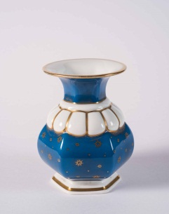 Small Continental Blue Painted Porcelain Vase