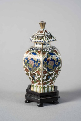 Oriental Style Small Painted Porcelain Covered Vase on Wooden Stand