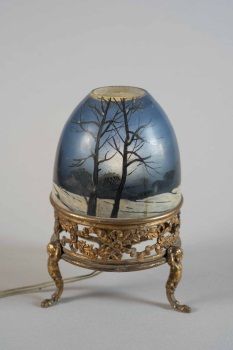 French Painted Glass Ball, Electrified