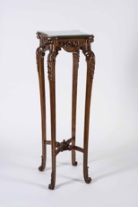 French Rococo Style Walnut Tall Side Table with Glass Top