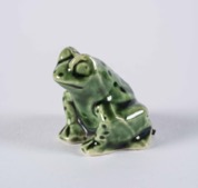 Vintage Green Glazed Porcelain Frog