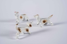 Set of Three Vintage Glazed Porcelain Dogs