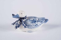 Vintage Delft Style Blue and White Hand Painted Porcelain Duck