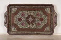 Painted and Etched Brass Indian Serving Tray