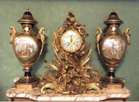 19th Century French Ormolu and Bronze Porcelain Mantle Clock by Sevres