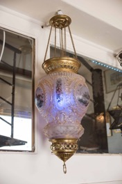 Hand Painted French Glass & Bronze Hanging Schneider