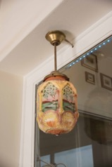 Art Nouveau Hand Painted Opaque Glass Hanging Lamp