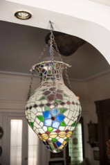 Pair of Vintage Stained Leaded Glass Hanging Lanterns