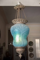 Blue Satin Etched Glass Hanging Lantern with Cherubic Design