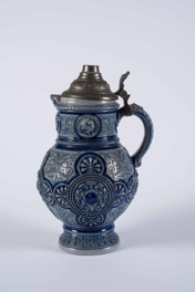 Bavarian Blue Engraved Ceramic Beer Stein with Ornate Metal Lid
