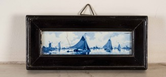 Vintage Framed Hand Painted Blue and White Delft Blau Tile