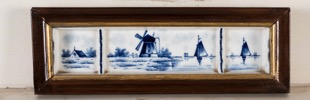 19th Century Framed Hand Painted Blue and White Delft Blau Tile