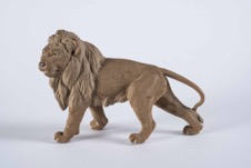 Vintage Hand Carved Wooden Lion Sculpture