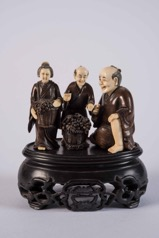 Set of Three Early 20th Century Japanese Carved Ivory and Wood Netsuke Figures