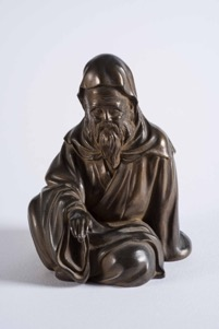 Oriental Bronze Figurine of a Seated Man