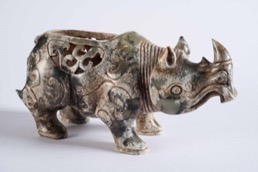 Oriental Carved Stone Figurine of a Rhinoceros