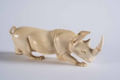 Oriental Carved Ivory Figurine of a Rhinoceros