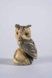 Carved Small Figurine of an Owl with Glass Eyes