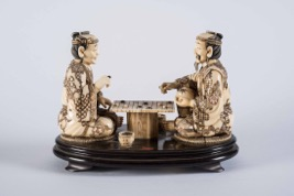 Two Japanese Ivory Netsuke Figurines on Stand