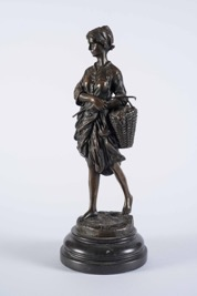 French Bronze Sculpture of a Peasant Lady