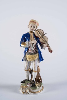 Continental Porcelain Figurine of a Man Playing Violin