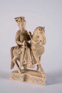 Carved Ivory Statue of a Woman on Horse
