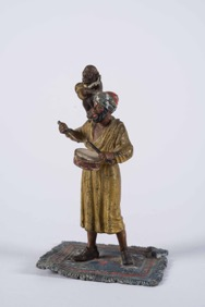 Cold Painted Bronze Statue of an Arab Musician with Monkey