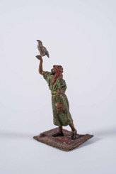 Cold Painted Bronze Statue of an Arab Man with Hunting Bird