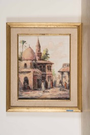 Orientalist Oil on Canvas of a Village Scene signed Abdel Latif