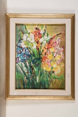 Oil on Canvas Indistinctly Signed at Lower Right; Flowers