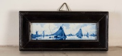 Framed Blue and White Delft Hand Painted Tile
