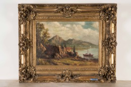 Gilt Framed Oil on Canvas signed R. Micoud
