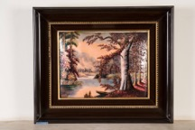Framed Painted Porcelain Plaque Indistinctly Signed at Lower Right