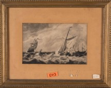Framed Antique Continental Etching of Sailing Ships