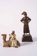 Two Orientalist Style Bronze Sculptures of a Camel Rider and Child; one Cold Painted