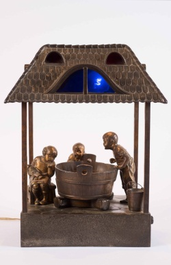 Bronze Light-up Figure Group; Children at Well
