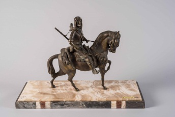 Orientalist Style Bronze Figure of a Man Riding Horse on Marble Base